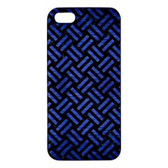 Woven2 Black Marble & Blue Brushed Metal Apple Iphone 5 Premium Hardshell Case by trendistuff