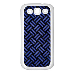 Woven2 Black Marble & Blue Brushed Metal Samsung Galaxy S3 Back Case (white) by trendistuff