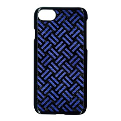Woven2 Black Marble & Blue Brushed Metal Apple Iphone 7 Seamless Case (black) by trendistuff