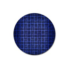 Woven1 Black Marble & Blue Brushed Metal (r) Magnet 3  (round) by trendistuff