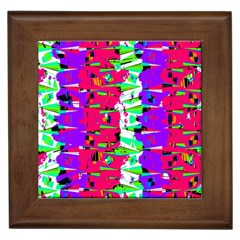 Colorful Glitch Pattern Design Framed Tiles by dflcprints