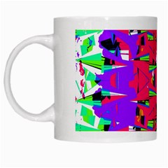 Colorful Glitch Pattern Design White Mugs by dflcprints