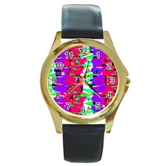 Colorful Glitch Pattern Design Round Gold Metal Watch by dflcprints