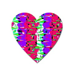 Colorful Glitch Pattern Design Heart Magnet by dflcprints