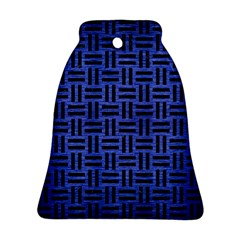 Woven1 Black Marble & Blue Brushed Metal (r) Bell Ornament (two Sides) by trendistuff