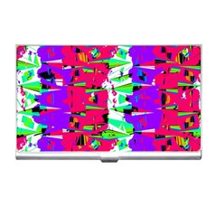 Colorful Glitch Pattern Design Business Card Holders by dflcprints