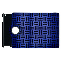 Woven1 Black Marble & Blue Brushed Metal (r) Apple Ipad 2 Flip 360 Case by trendistuff