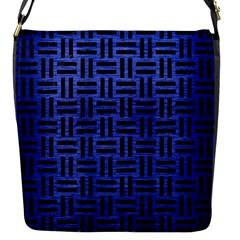 Woven1 Black Marble & Blue Brushed Metal (r) Flap Closure Messenger Bag (s) by trendistuff