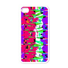 Colorful Glitch Pattern Design Apple Iphone 4 Case (white) by dflcprints