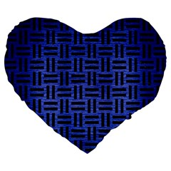Woven1 Black Marble & Blue Brushed Metal (r) Large 19  Premium Flano Heart Shape Cushion by trendistuff