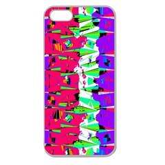Colorful Glitch Pattern Design Apple Seamless Iphone 5 Case (clear) by dflcprints