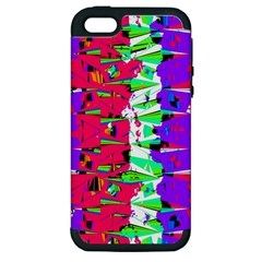 Colorful Glitch Pattern Design Apple Iphone 5 Hardshell Case (pc+silicone) by dflcprints