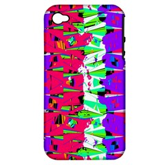 Colorful Glitch Pattern Design Apple Iphone 4/4s Hardshell Case (pc+silicone) by dflcprints