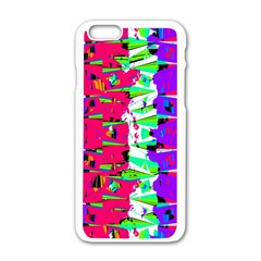 Colorful Glitch Pattern Design Apple Iphone 6/6s White Enamel Case by dflcprints