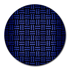 Woven1 Black Marble & Blue Brushed Metal Round Mousepad by trendistuff