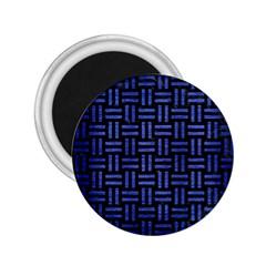 Woven1 Black Marble & Blue Brushed Metal 2 25  Magnet by trendistuff
