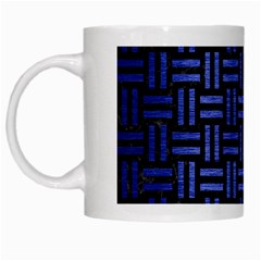 Woven1 Black Marble & Blue Brushed Metal White Mug by trendistuff