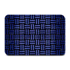 Woven1 Black Marble & Blue Brushed Metal Plate Mat by trendistuff