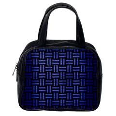 Woven1 Black Marble & Blue Brushed Metal Classic Handbag (one Side) by trendistuff