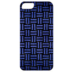Woven1 Black Marble & Blue Brushed Metal Apple Iphone 5 Classic Hardshell Case by trendistuff