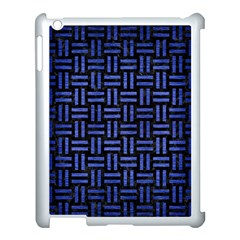 Woven1 Black Marble & Blue Brushed Metal Apple Ipad 3/4 Case (white) by trendistuff