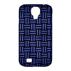 Woven1 Black Marble & Blue Brushed Metal Samsung Galaxy S4 Classic Hardshell Case (pc+silicone) by trendistuff