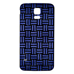 Woven1 Black Marble & Blue Brushed Metal Samsung Galaxy S5 Back Case (white) by trendistuff