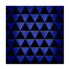 Triangle3 Black Marble & Blue Brushed Metal Tile Coaster by trendistuff
