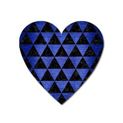 Triangle3 Black Marble & Blue Brushed Metal Magnet (heart) by trendistuff