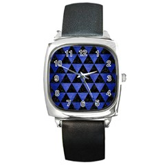 Triangle3 Black Marble & Blue Brushed Metal Square Metal Watch by trendistuff