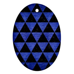 Triangle3 Black Marble & Blue Brushed Metal Oval Ornament (two Sides) by trendistuff