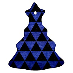 Triangle3 Black Marble & Blue Brushed Metal Christmas Tree Ornament (two Sides) by trendistuff