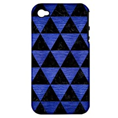 Triangle3 Black Marble & Blue Brushed Metal Apple Iphone 4/4s Hardshell Case (pc+silicone) by trendistuff