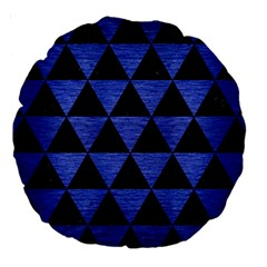 Triangle3 Black Marble & Blue Brushed Metal Large 18  Premium Round Cushion  by trendistuff