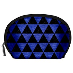 Triangle3 Black Marble & Blue Brushed Metal Accessory Pouch (large) by trendistuff