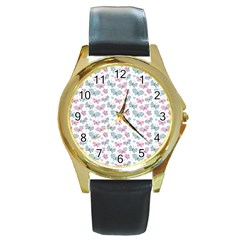 Cute Pastel Butterflies Round Gold Metal Watch by tarastyle