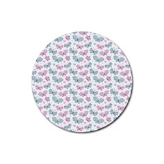 Cute Pastel Butterflies Rubber Round Coaster (4 Pack)  by tarastyle