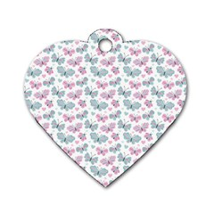Cute Pastel Butterflies Dog Tag Heart (two Sides) by tarastyle