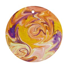 Yellow Marble Round Ornament (two Sides) by tarastyle