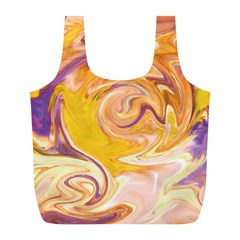 Yellow Marble Full Print Recycle Bags (l)