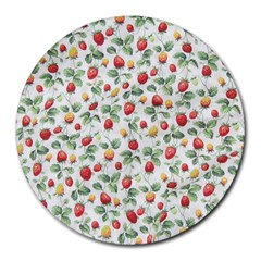 Strawberry Pattern Round Mousepads by Valentinaart