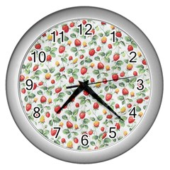 Strawberry Pattern Wall Clocks (silver)  by Valentinaart