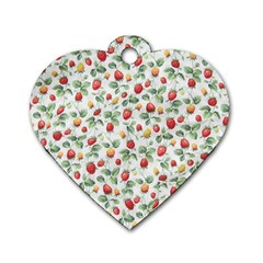 Strawberry Pattern Dog Tag Heart (two Sides) by Valentinaart