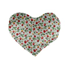 Strawberry Pattern Standard 16  Premium Flano Heart Shape Cushions by Valentinaart