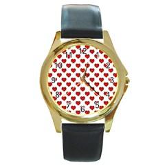 Emoji Heart Shape Drawing Pattern Round Gold Metal Watch by dflcprints