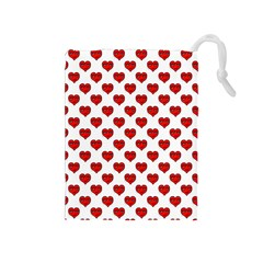 Emoji Heart Shape Drawing Pattern Drawstring Pouches (medium)  by dflcprints