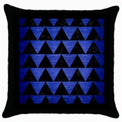 Triangle2 Black Marble & Blue Brushed Metal Throw Pillow Case (black) by trendistuff