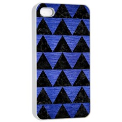 Triangle2 Black Marble & Blue Brushed Metal Apple Iphone 4/4s Seamless Case (white) by trendistuff