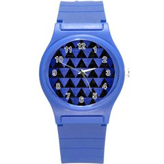 Triangle2 Black Marble & Blue Brushed Metal Round Plastic Sport Watch (s) by trendistuff