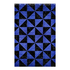 Triangle1 Black Marble & Blue Brushed Metal Shower Curtain 48  X 72  (small) by trendistuff